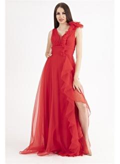 Belamore  Kırmızı Yırtmaçlı Omuzu Detaylı Abiye & Mezuniyet Elbisesi 1607239.08